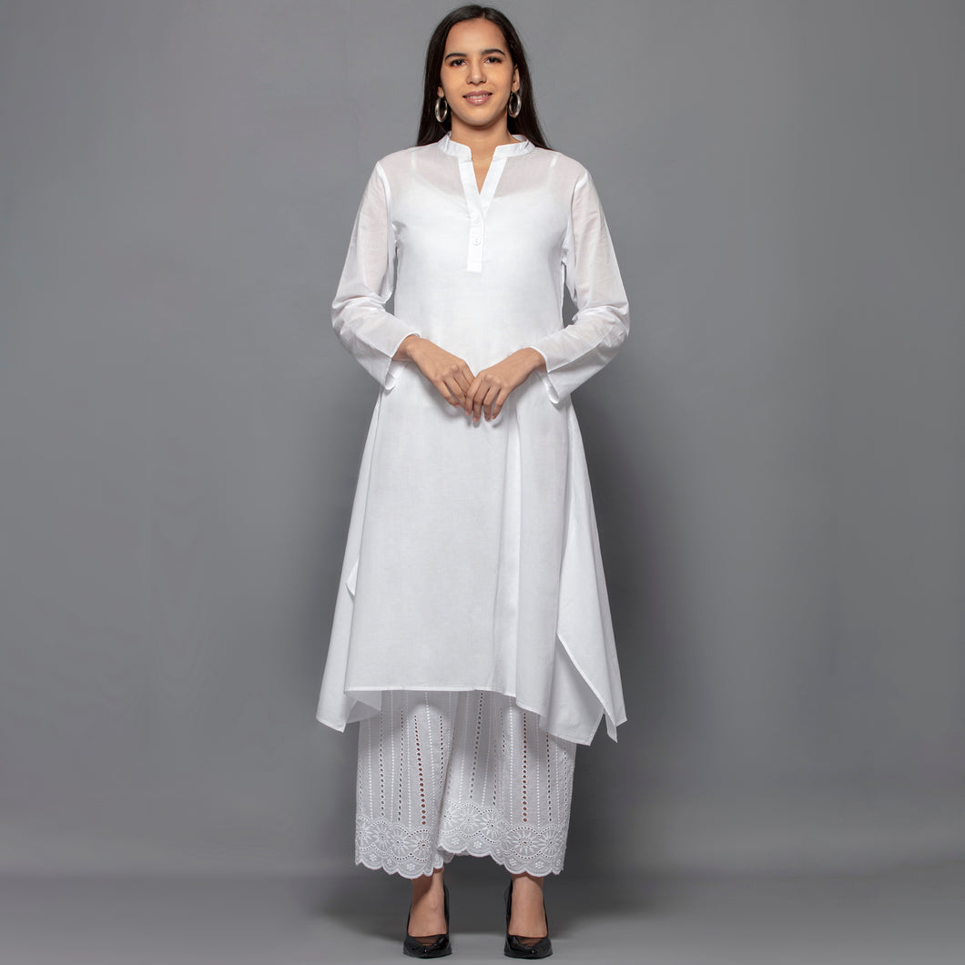 White Cotton Shirt Dress With Embroidered Pants Set