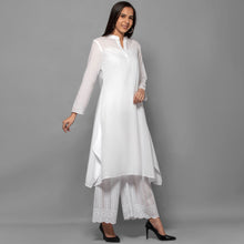 Load image into Gallery viewer, White Cotton Shirt Dress With Embroidered Pants Set