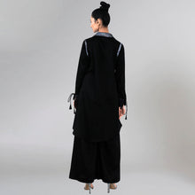 Load image into Gallery viewer, Black Sequined Shirt Dress And Wide Leg Pants