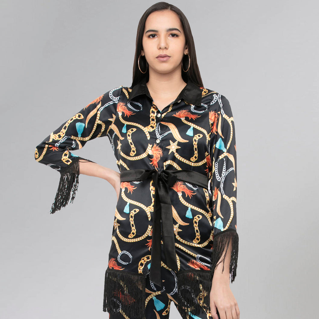 Black Chain Print Shirt
