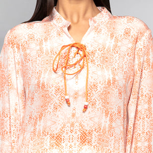 Light Peach Animal Print Lace-Up Top