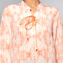 Load image into Gallery viewer, Light Peach Animal Print Lace-Up Top