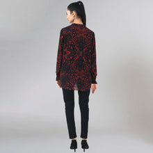 Load image into Gallery viewer, Dark Red Animal Print Lace-Up Top
