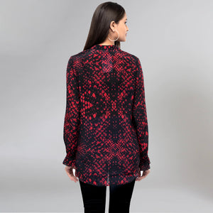 Dark Red Animal Print Lace-Up Top
