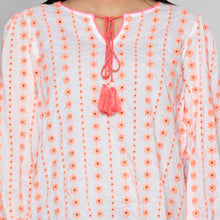 Load image into Gallery viewer, Neon Orange Eyelet Top