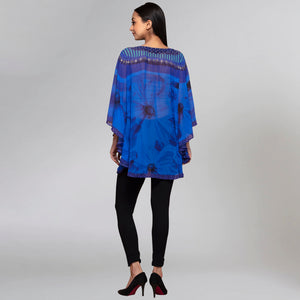 Blue Embellished Floral Tunic