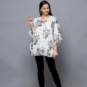Black And White Floral Lurex Tunic