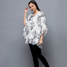 Load image into Gallery viewer, Black And White Floral Lurex Tunic