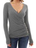 V-neck Perforated Lace Up Long Sleeve Top