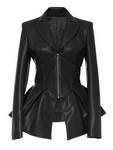 Leather Office Plain Long Sleeve Jacket