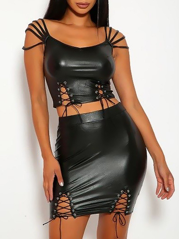 Faux Leather Multi Strap Lace-up Two-Piece Outfit