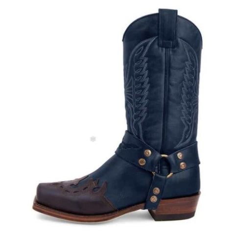 Embroidered Women's Leather Boots Side Zipper Knight Boots