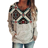 Winter New Bohemia Printed Hoodie Loose Plus Size Slim-Fit Long Sleeve Top