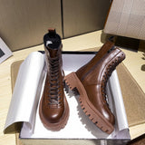 Brown Martin Boots Female 2021 Winter New British Style