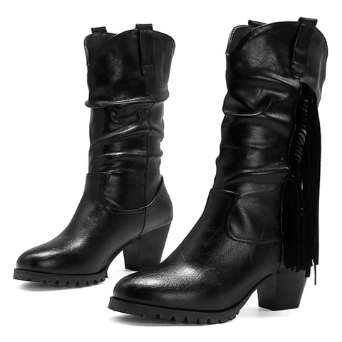 Winter New High Heel Mid-Calf Martin Boots