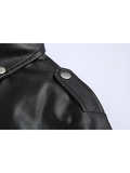 Stand-up Collar Belt Zipper Leather Jacket