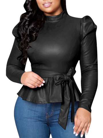Half High Collar Long Sleeve Leather Jacket