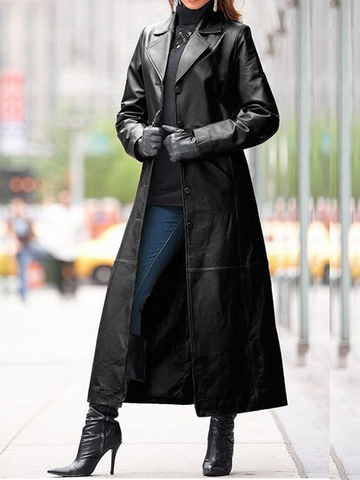 Slim Leather Trench Coat