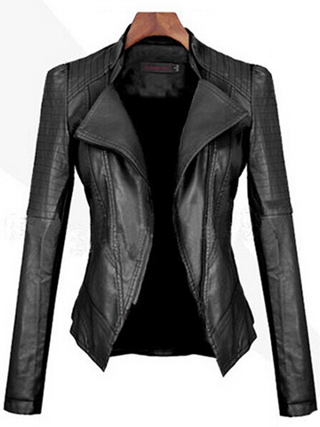 Skinny Leather Plain Long Sleeve Jacket