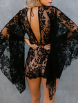 Deep V Sexy Flared Sleeve Lace Bodysuit