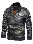 Stand-up Collar Stylish Leather Jacket