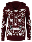 Loose Skull Print Long Sleeve Hooded Sweatshirt