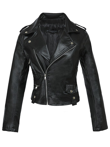 Locomotive Style Black Leather Jacket