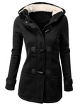 Hooded Cotton Blend Button Coat