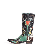 Multicolor patterned straight cowboy boots