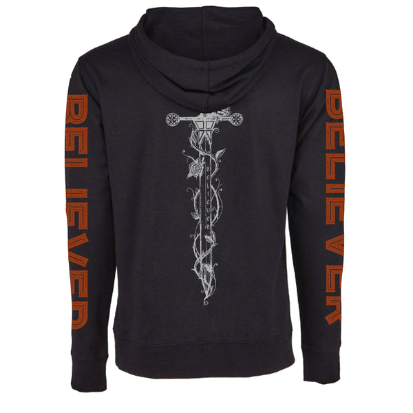"MEN'S ""BELIEVER-DAGGER"" FRENCH TERRY LONG SLEEVE PULLOVER HOODY Black"
