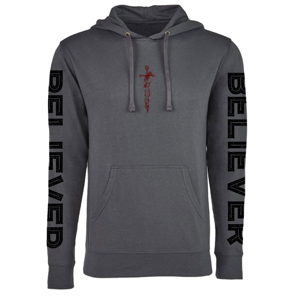 "MEN'S ""BELIEVER-DAGGER"" FRENCH TERRY LONG SLEEVE PULLOVER HOODY Charcoal SIZE S"