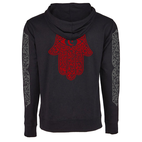 "MEN'S ""MOROCCAN HAMSA"" FRENCH TERRY LONG SLEEVE PULLOVER HOODY  Black"