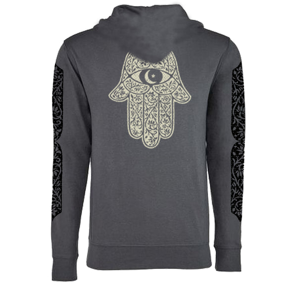 "MEN'S ""MOROCCAN HAMSA"" FRENCH TERRY LONG SLEEVE PULLOVER HOODY Charcoal"