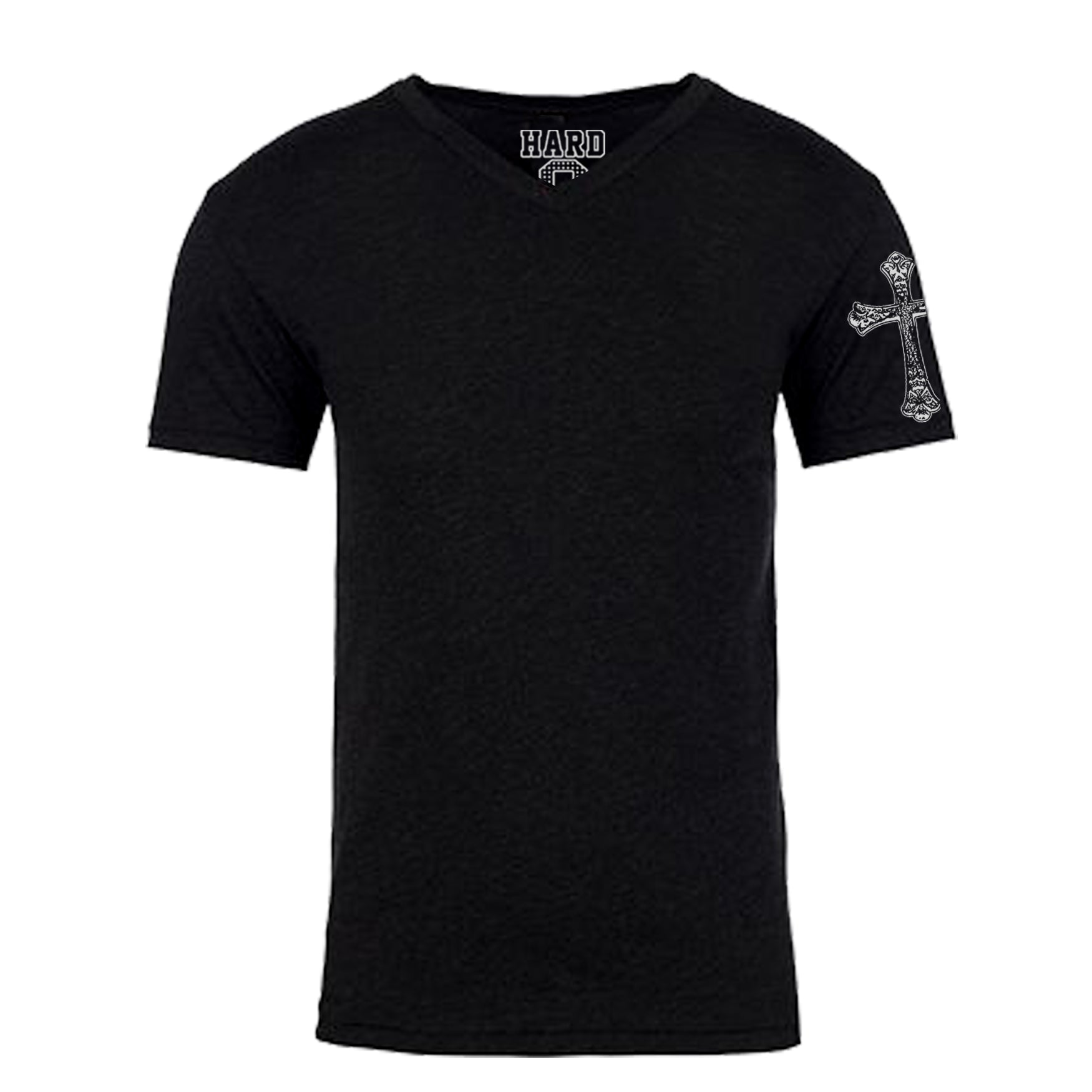 "MEN'S ""GOTHIC CROSS SLEEVE"" SUEDED COTTON BLEND V-Neck Black"