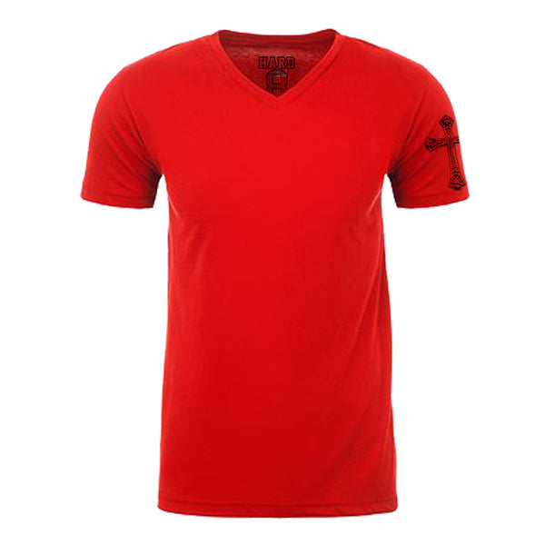 "MEN'S ""GOTHIC CROSS SLEEVE"" SUEDED COTTON BLEND V-Neck Red"