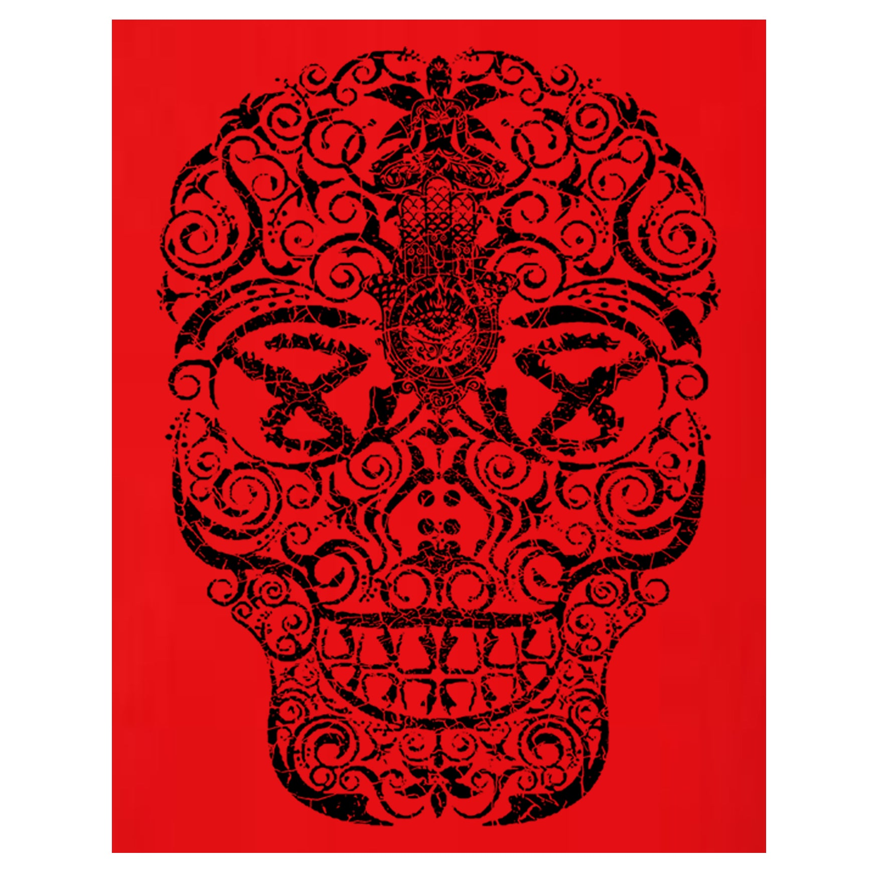"MEN'S ""HAND DRAWN SKULL SLEEVE"" SUEDED COTTON BLEND V-Neck Red"