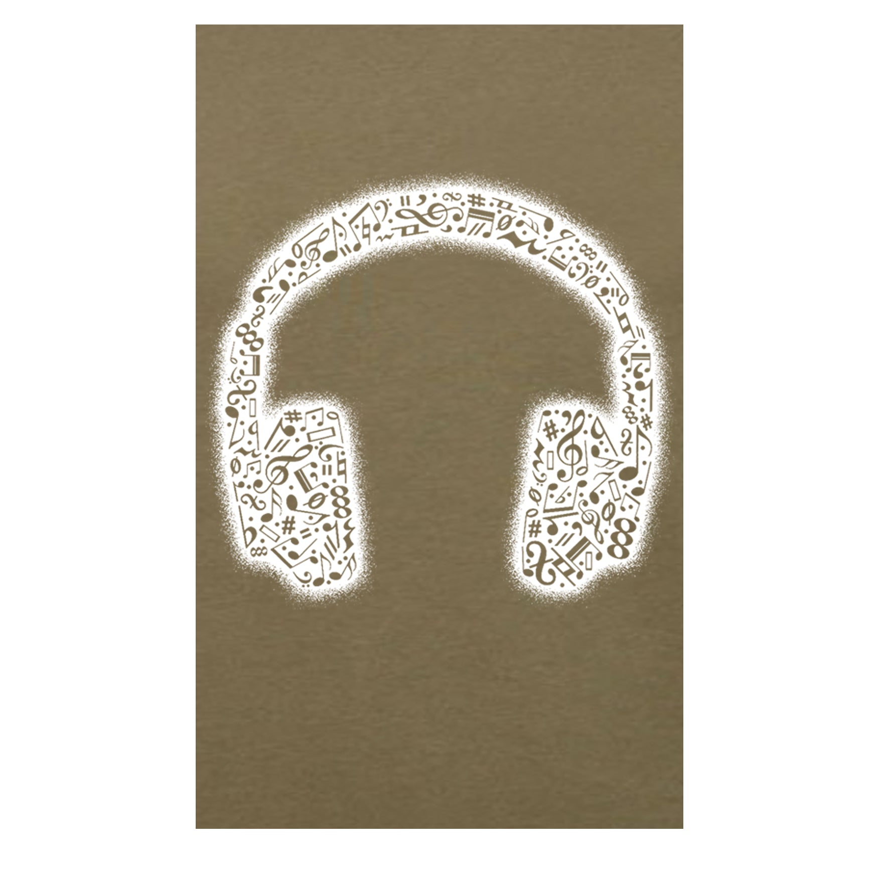 "MEN'S ""MUSIC HEADPHONES SLEEVE"" SUEDED COTTON BLEND V-Neck Military Green"