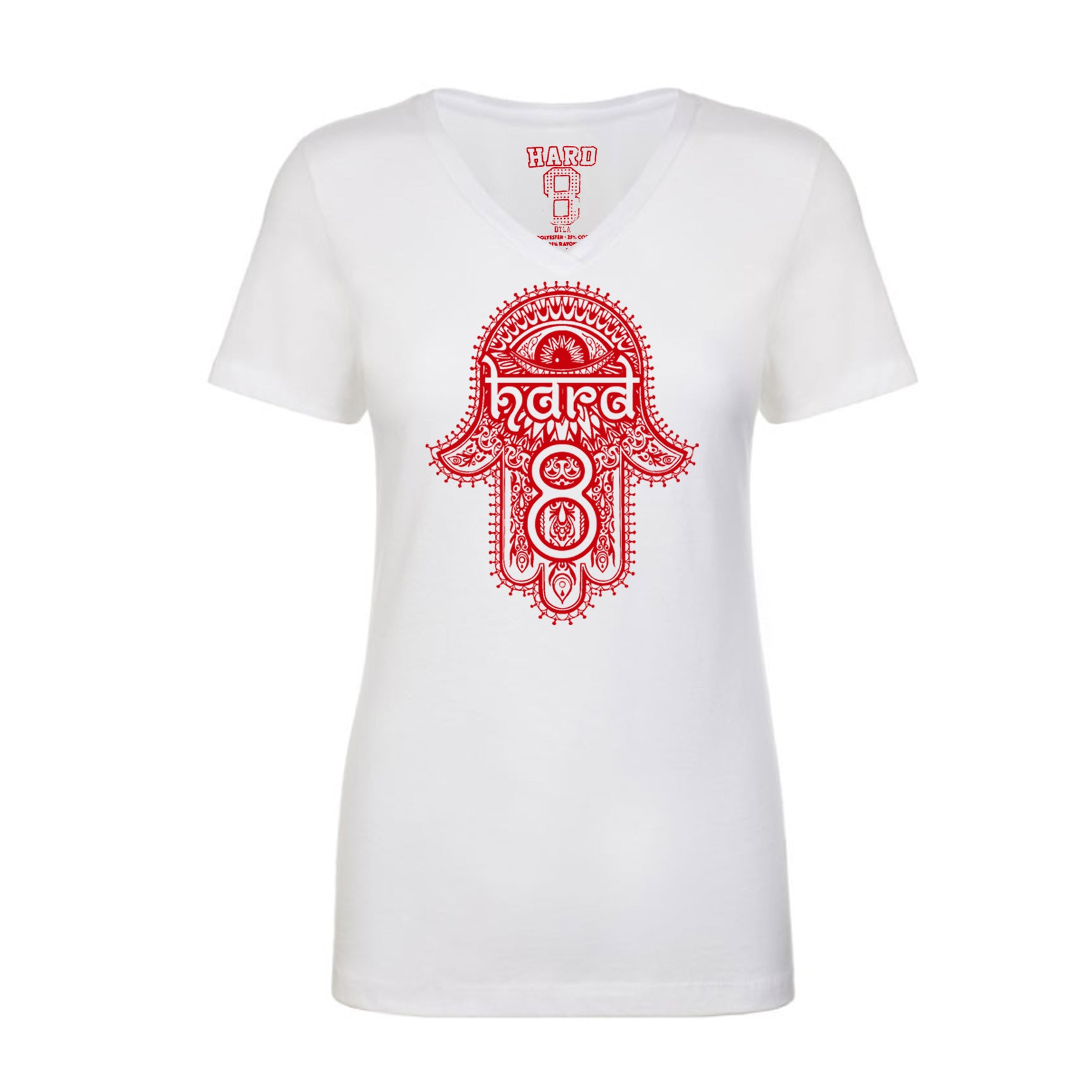 "WOMEN'S ""HENNA HAMSA""  V-NECK TEE White"