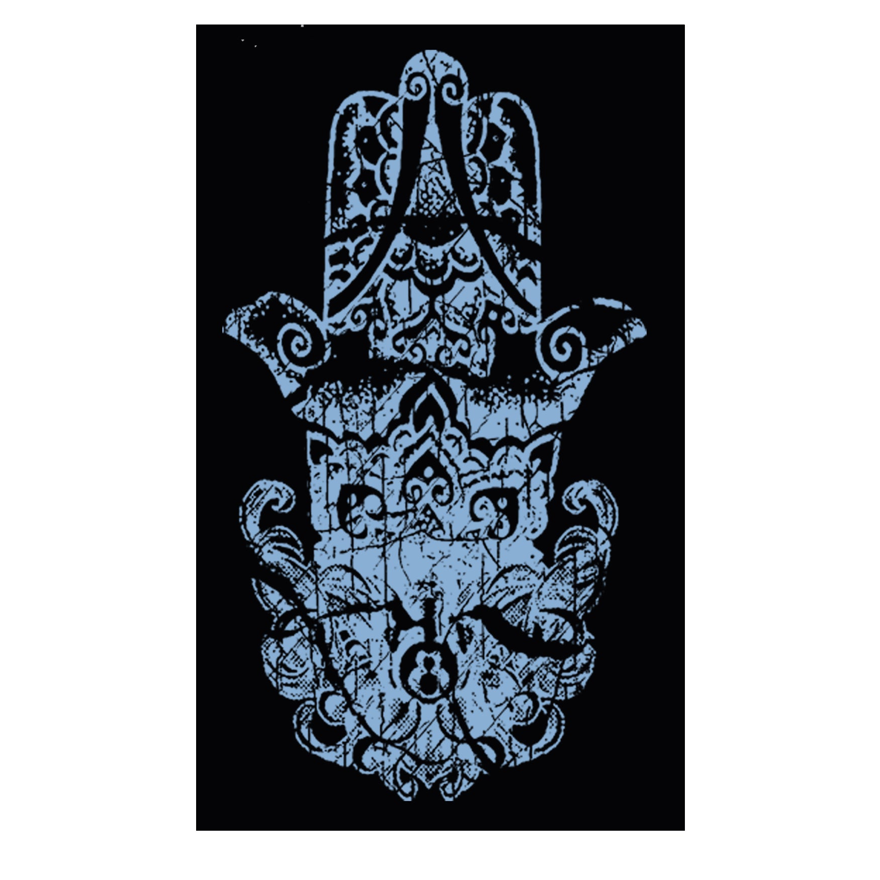 "MEN'S ""HINDU HAMSA SLEEVE"" SUEDED COTTON BLEND V-Neck Black Size M"