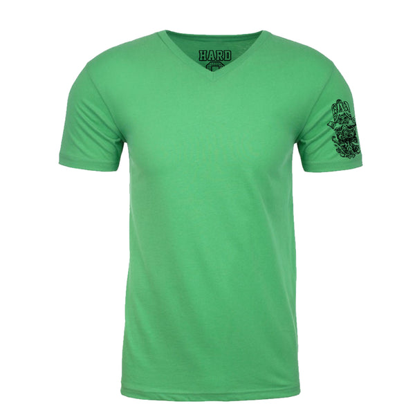 "MEN'S ""HINDU HAMSA SLEEVE"" SUEDED COTTON BLEND V-Neck Green"