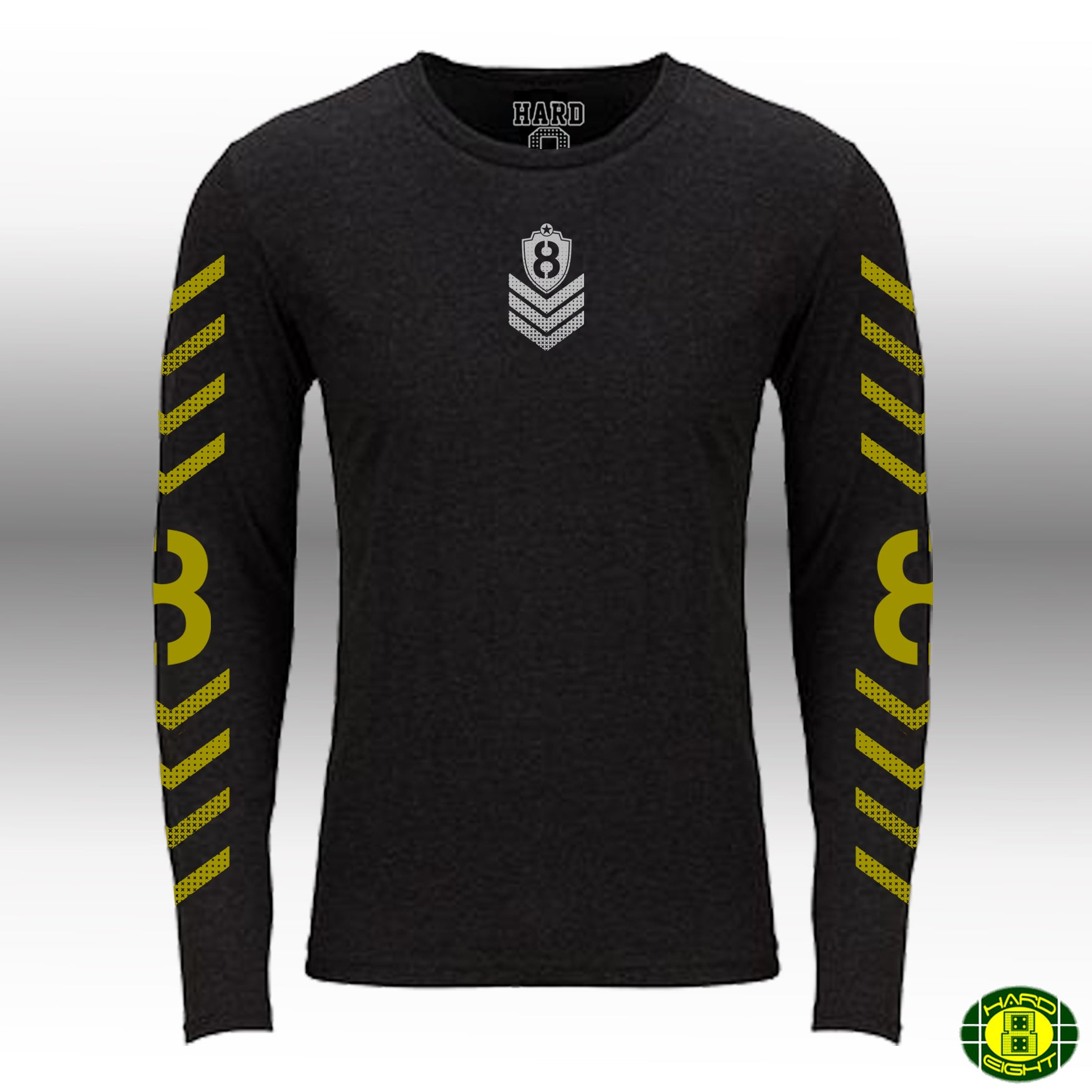 "MEN'S TRI-BLEND LONG SLEEVE CREW ""MILITARY 8"" Black Heather"