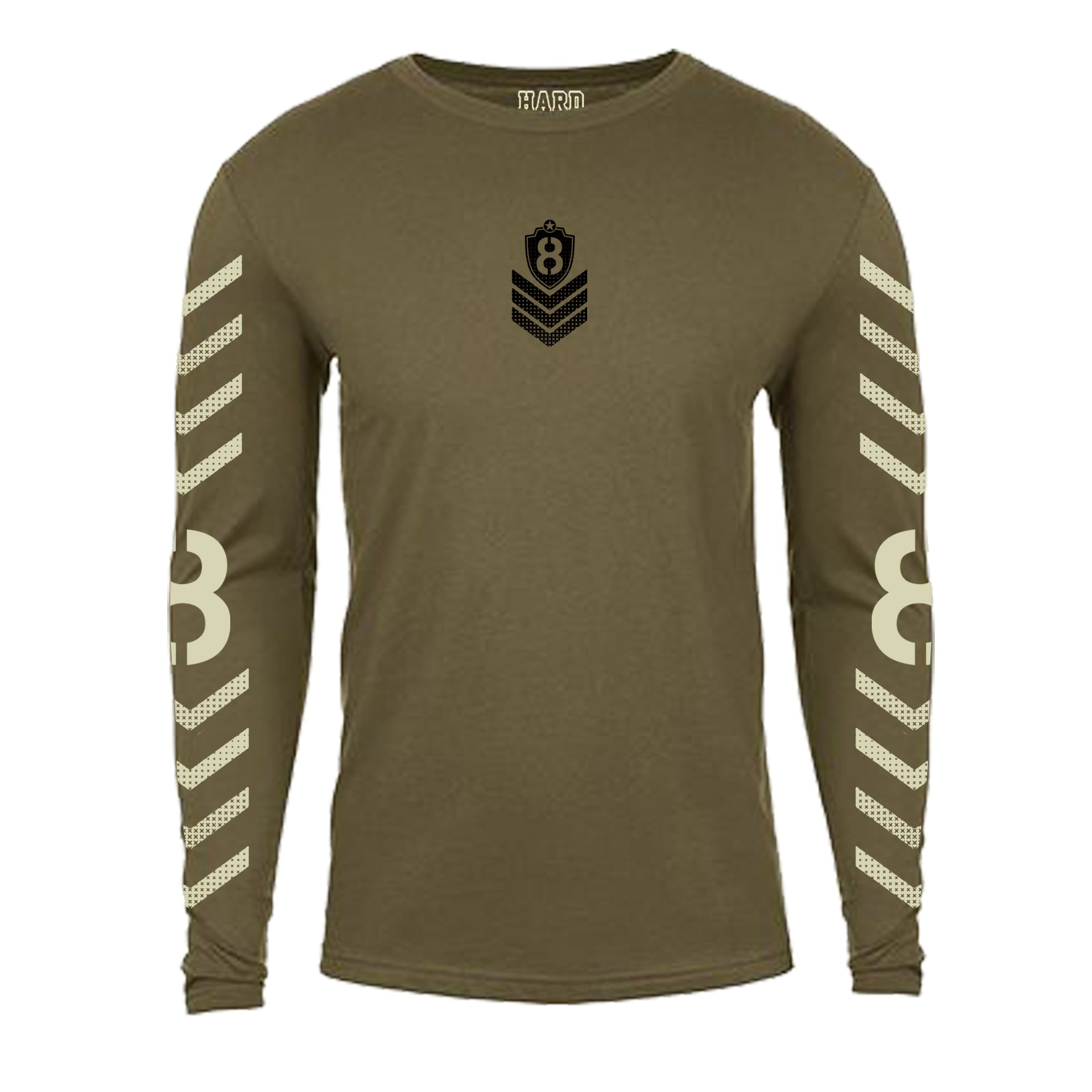 "MEN'S TRI-BLEND LONG SLEEVE CREW ""MILITARY 8"" Army Heather"