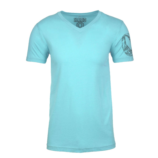 "MEN'S ""PEACE WHEEL SLEEVE"" SUEDED COTTON BLEND V-Neck Aqua"