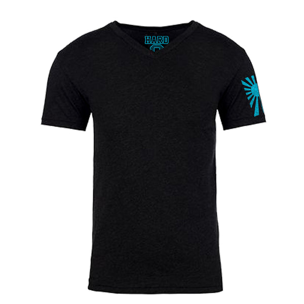 "MEN'S ""RISING SUN SLEEVE"" SUEDED COTTON BLEND V-Neck Black"