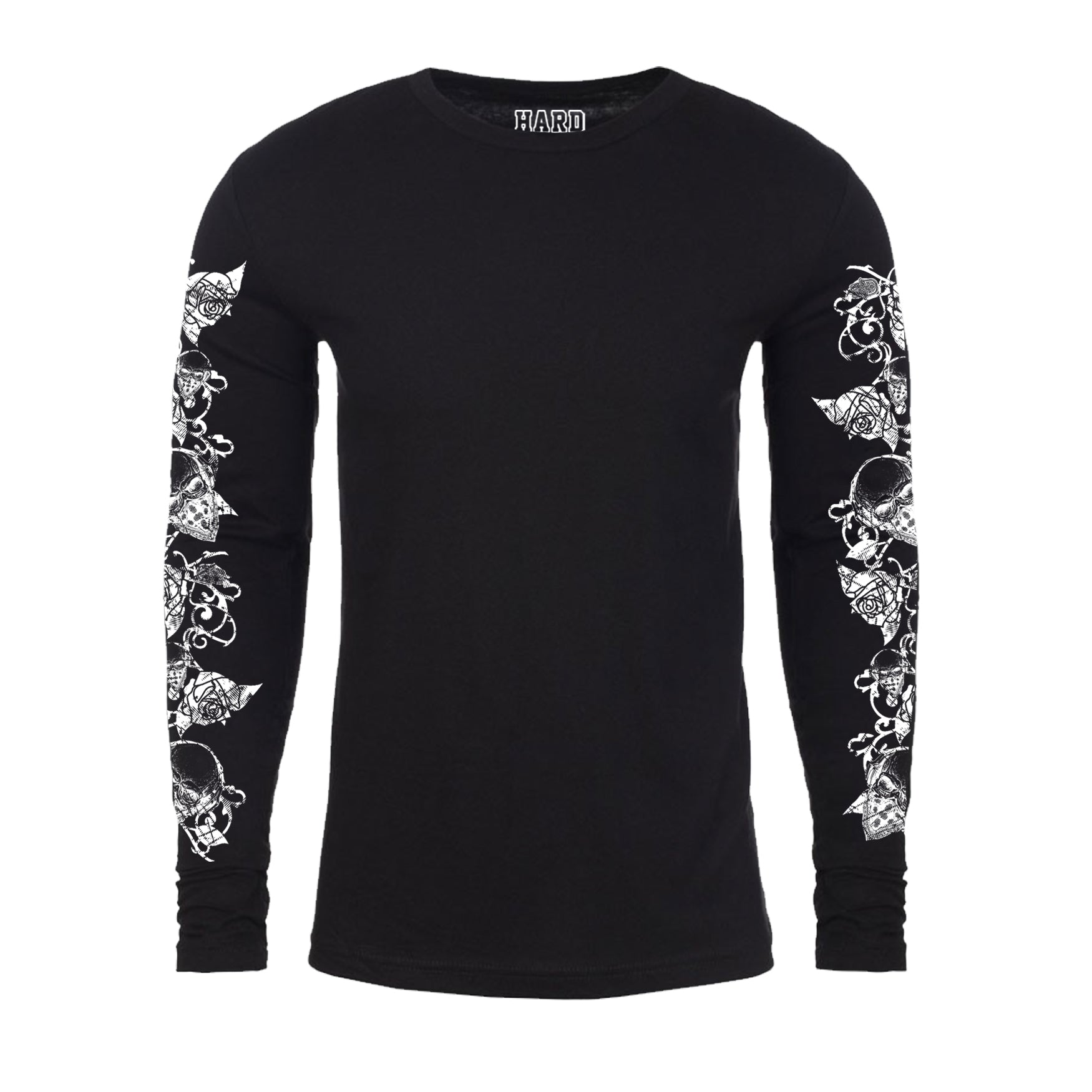 "MEN'S LAUNDERED COTTON LONG SLEEVE CREW  ""ROSE/BANDANA SKULLS"" PRINT Black"
