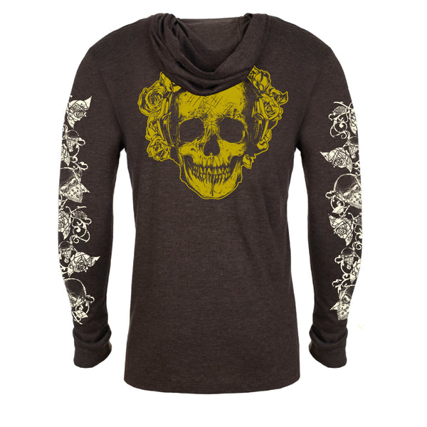 "UNISEX TRI-BLEND LONG SLEEVE HOODY ""ROSE SKULL"" Heather Espresso"