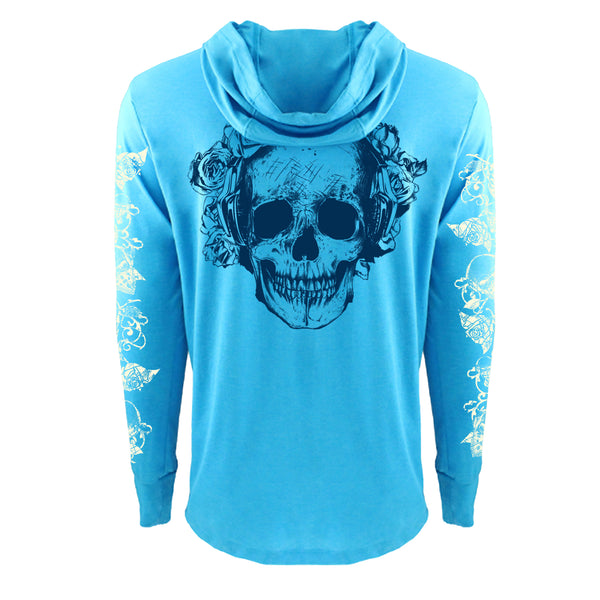 "UNISEX TRI-BLEND LONG SLEEVE HOODY ""ROSE SKULL"" Heather Turq"