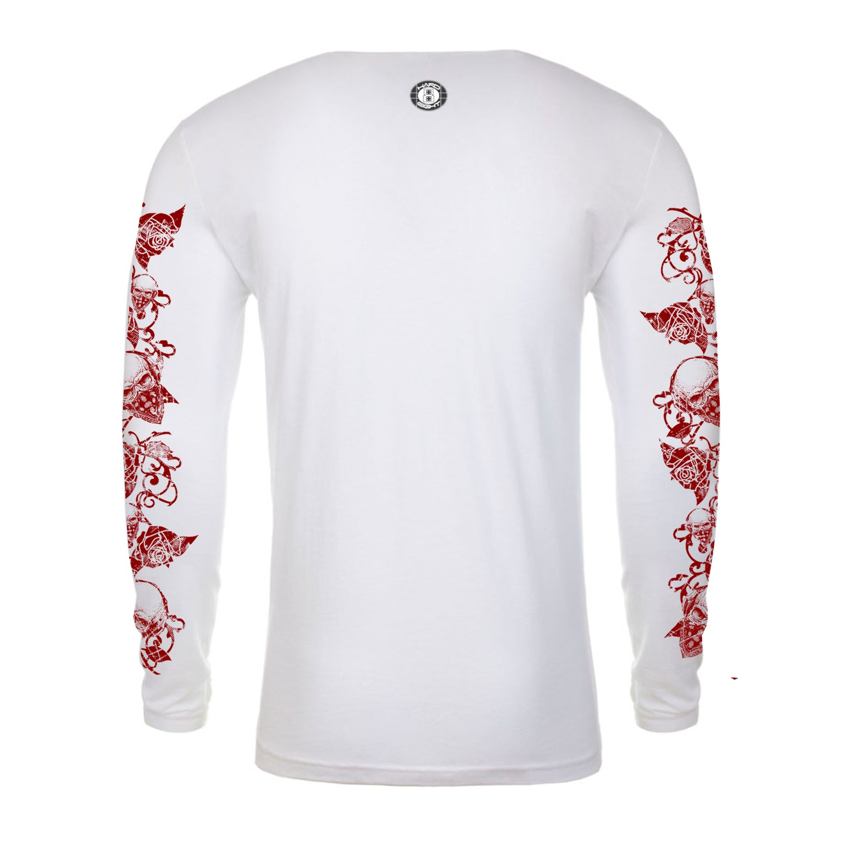"MEN'S LAUNDERED COTTON LONG SLEEVE CREW  ""ROSE/BANDANA SKULLS"" PRINT White"