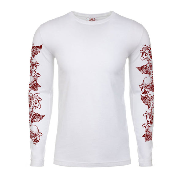 "Men's ""ROSE/BANDANA SKULL""  Laundered Cotton Long Sleeve Crew Neck White/Dk Red"