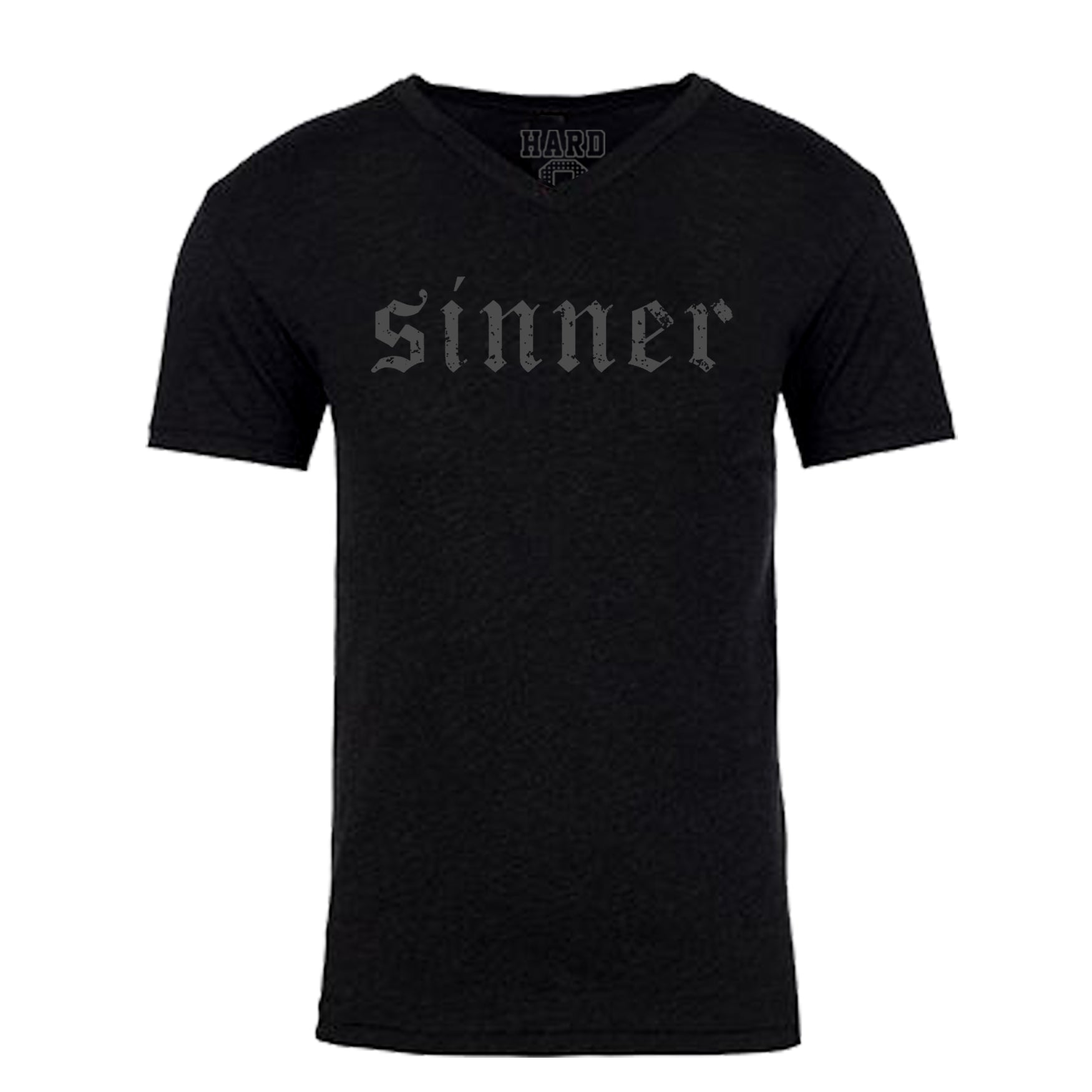 "MEN'S ""SINNER"" SUEDED COTTON BLEND V-NECK  Black/Silver Size L"